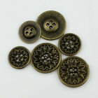 "12PCS Bronze Flower Carving Round Metal 4 Hole Sewing Buttons 15mm/24L/5/8"" 25mm"