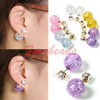 Celebrity Runway Galaxy Colors Crystal Glass Double Sided Cubic Zirconia Earring