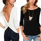 Casual Long Sleeve Cross Twisted Tops Womens Deep V-back Blouse Tee Clubwear L87