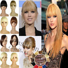 Premium Deluxe 9'' Clip In on Bangs Fringe Hair Extensions Human Style Straight