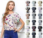 Women Summer Casual Chiffon Top Batwing Short Sleeve Loose Shirt Pattern Blouse