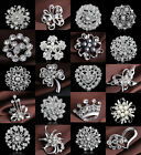 LOT SILVER DIAMANTE FLOWER PIN BROOCH WEDDING BOUQUET BRIDAL LADIES BROACHES HOT