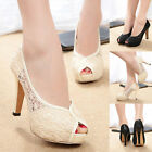 Fashion Platform Sexy Peep Toe Stilettos High Heels Lace Crochet Pumps Shoes