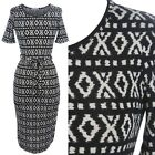 Tribal Print Short Sleeve Scoop Neck Mid Length Dress Belted Dress Casual S M L