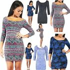 Womens Ladies 3/4 Sleeves Printed Floral Polka Dot Scoop Neck Bodycon Mini Dress