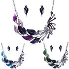 Wedding Bridal Peacock Tail Rhinestone Crystal Earrings Necklace Jewelry Sets