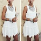 Unique New Hot Fashion Summer Women Sexy White Dress Sleeveless Dress Clothes