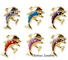 New Fashion Women Animal Crystal Double Dolphin Brooch Pins Wedding Gift Jewelry