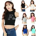 Womens Cotton Candy Color Fashion Collar Navel Sleeveless T Shirt Vest