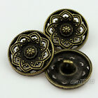 12Pcs Bronze Tone Carved Flower Decorative Pattern Metal Shank Buttons 23mm