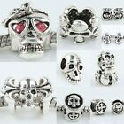 Modern Czech Crystal Punk Disco Hip Hop Skull Skeleton Bead Fit Charms Bracelet