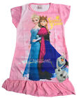 Disney Elsa Anna Olaf Children Kids Pyjama Girls Sleepwear Dress Pink 3-10 Year
