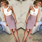 Womens Two Piece Bandage Bodycon Skirt Bralet Crop Top Set Summer Ladies Dress