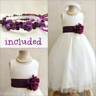 Gorgeous Ivory/plum purple tulle flower girl dress FREE HEADPIECE all sizes