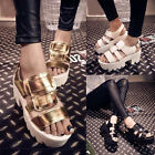 Stylish Sexy Buckle Chunky High Heels Platforms Pumps Cleated Sole Sandals Shoes