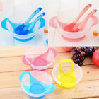 3pcs/Set Baby Suction Bowl Temperature Colour Changing Spoon Feeding Tableware