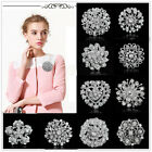 Newly Rhinestone Crystal Silver Wedding Bridal Party Round Bouquet Brooch Pins
