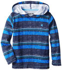 Hurley Boys L/S Hooded Striped Blue Top Size 4 5 6 7 $28