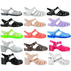 Womens PVC Jelly Summer Beach Flexible Flip Flops Retro Buckle Sandals Size 3-8
