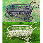 BENTLEY GARDEN WROUGHT IRON DECORATIVE WHEELBARROW PLANTER ORNAMENT WHITE/BLACK
