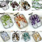 HOT Rectangle Handmade Natural Gemstone Chips Wire Wrap Life-Tree Pendant Gift