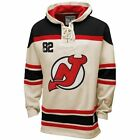 Men's New Jersey Devils Old Time Hockey Stone Home Lace Heavyweight Hoodie