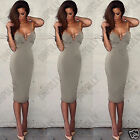 Womens Low V Cut Out Bodycon Black Pencil Party Summer Midi Tunic Ladies Dress