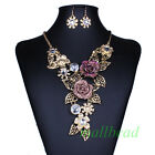 New Rose Flower Cluster Leaf Charm Bib Statement Choker Necklace Earrings Set
