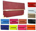 WOMENS FAUX LEATHER FLAT ENVELOPE PROM PARTY EVENING OCCASION CLUTCH BAG