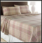 KHAKI PLAID HEAVY Weight Brushed Cotton FLANNEL Sheet Set Excellent Quality =NEW