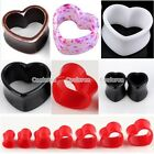 Pair Pick Acrylic Heart Hollow Flared Ear Tunnels Gauge Plugs Stretcher 8-24mm