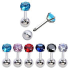 "1x 16G 1/4"" Steel 4mm CZ Round Barbell Tragus Cartilage Helix Ear Stud Earrings"