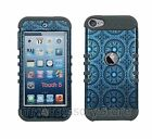 iPod Touch 5th 6th GEN Blue Circular Design RKR Hard&Rubber Rugged Case Cover