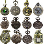 Vintage Steampunk Retro Bronze Design Pocket Watch Quartz Pendant Necklace Gift image