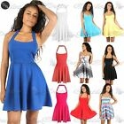 Womens Ladies Halter Neck Backless Flared Party Mini Skater Dress Size UK 8-26