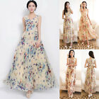 Women Sexy summer Floral V-Neck Beach Boho Bohemia Maxi Sundress Long Dress