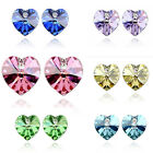 New Women Fashion Jewelry Crystal Rhinestone Ear Love Heart Stud Earrings Gift