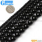 "Round Gemstone Black Agate Beads Jewelry Making Loose Beads 15""  Free Shipping"