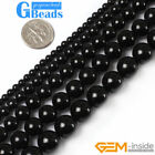 "Natural Black Agate Onyx Round Beads For Jewelry Making Free Shipping 15"" Strand"