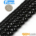 """Natural Black Agate Onyx Round Beads For Jewelry Making Free Shipping 15"""" Strand"""