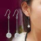 Women Vintage Long Silver Earring CZ Crystal Ear Stud Drop Dangle Earrings