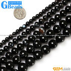 Round Gemstone Banded Black Agate Beads Jewelry Making Loose Beads Strand 15""