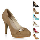 Damen Plateau Pumps High Heels Lederoptik Stiletto Schuhe 76586 New Look
