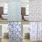 Black And White Square Design Bathroom Waterproof Fabric Bath Shower Curtain