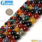 "Natural Round Gemstone Mix-Colour Agate Beads Strand 15""Free Shipping"