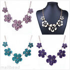 Modern Flower Crystal Fashion Pendant Bib Charm Chain Statement Necklace Choker