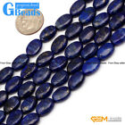Blue Lapis Lazuli Gemstone Oval Beads For Jewelry Making Free Shipping 15""
