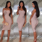 Womens Sexy Bandage Bodycon Bandeau Bustier UK Cocktail Party Evening Midi Dress