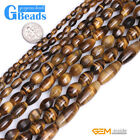 Natural Tiger's Eye Gemstone Olivary Beads For Jewelry Making Free Shipping 15""