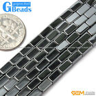 Black Hematite Stone Rectangle Tube Beads For Jewelry Making Free Shipping 15""
